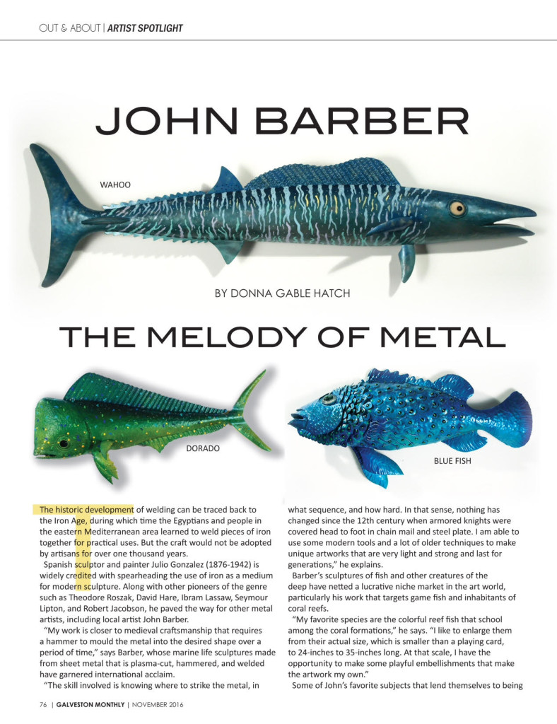 Galveston Monthly Article about John Barber, Metal Artist
